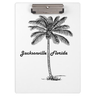 Black and White Jacksonville & Palm design Clipboard