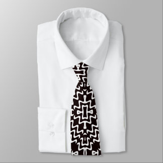 Black and White Jagged Edge Tribal Pattern Tie