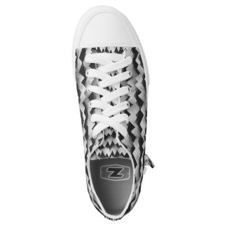 Black and White Jagged Mountain Pattern Low Tops Printed Shoes