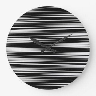 Black and White Jagged Zigzag Large Clock