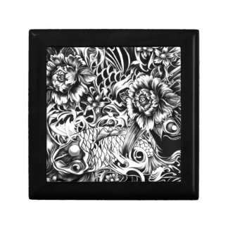 Black and white Japanese Koi tattoo art. Small Square Gift Box