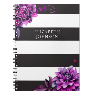 Black and white journal Purple flowers watercolor