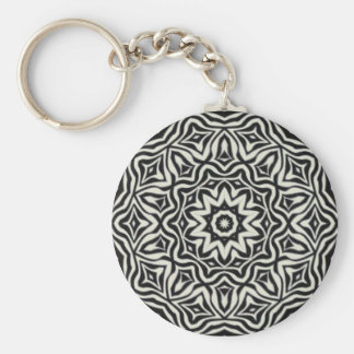 Black and white Kaleidoscope Keychain