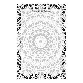 Black and White Kaleidoscope Pattern II Personalised Stationery