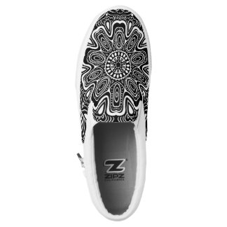 Black and White kaleidoscope Printed Shoes