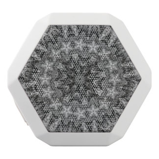 BLACK AND WHITE KALEIDOSCOPIC GEOMETRIC MANDALA