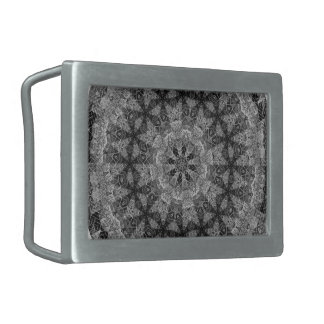 BLACK AND WHITE KALEIDOSCOPIC GEOMETRIC MANDALA BELT BUCKLES