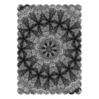 BLACK AND WHITE KALEIDOSCOPIC GEOMETRIC MANDALA CARD