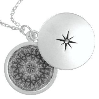 BLACK AND WHITE KALEIDOSCOPIC GEOMETRIC MANDALA LOCKET NECKLACE