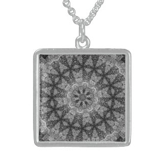 BLACK AND WHITE KALEIDOSCOPIC GEOMETRIC MANDALA STERLING SILVER NECKLACE
