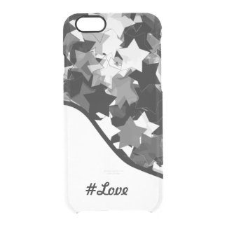 Black and White Kawaii Stars Background Clear iPhone 6/6S Case