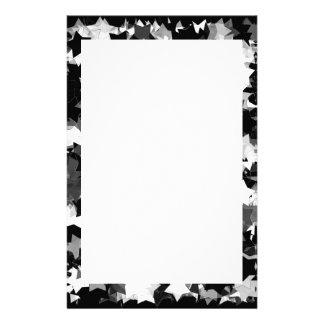 Black and White Kawaii Stars Background Stationery