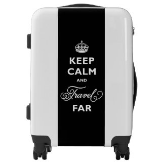 Black And White Keep Calm And Travel Far Luggage