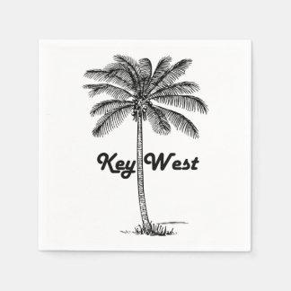 Black and White Key West Florida & Palm design Disposable Napkin