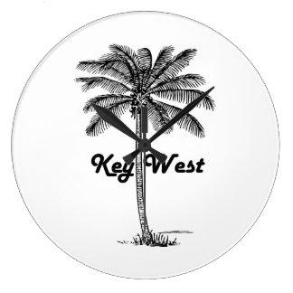Black and White Key West Florida & Palm design Large Clock