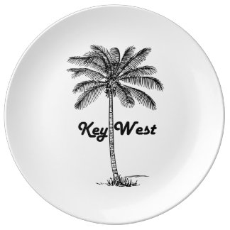 Black and White Key West Florida & Palm design Plate
