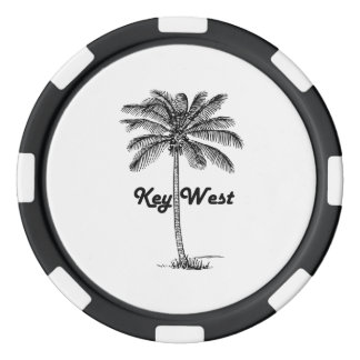 Black and White Key West Florida & Palm design Poker Chips