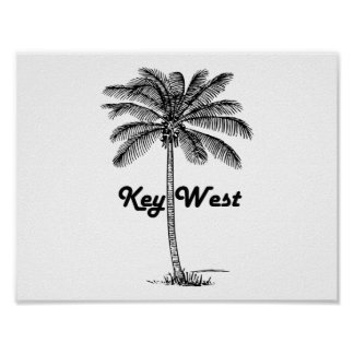 Black and White Key West Florida & Palm design Poster