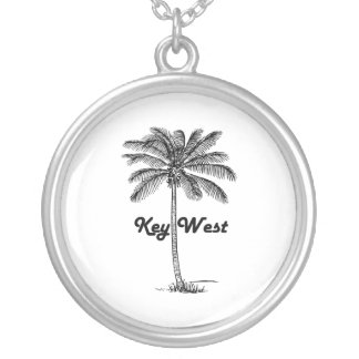 Black and White Key West Florida & Palm design Silver Plated Necklace