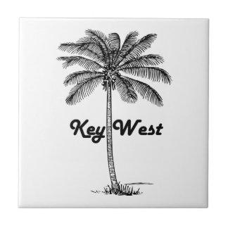 Black and White Key West Florida & Palm design Tile