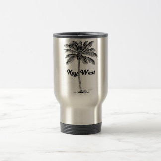 Black and White Key West Florida & Palm design Travel Mug
