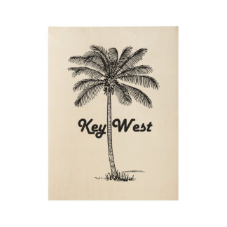 Black and White Key West Florida & Palm design Wood Poster