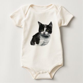 Black and White Kitten Drawing Baby Bodysuit