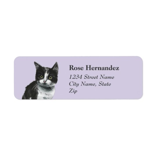 Black and White Kitten Drawing Return Address Label