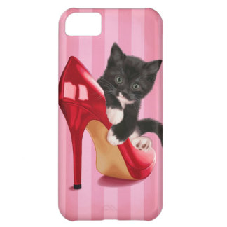 Black and White Kitten in Red Shoe Cover For iPhone 5C