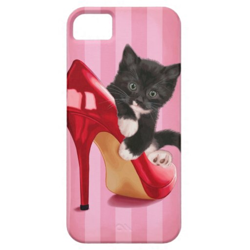 Black and White Kitten in Red Shoe iPhone 5 Cases