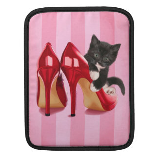 Black and White Kitten in Red Shoe iPad Sleeves