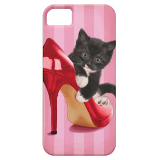 Black and White Kitten in Red Shoe iPhone 5 Cover