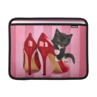 Black and White Kitten in Red Shoe MacBook Air Sleeves