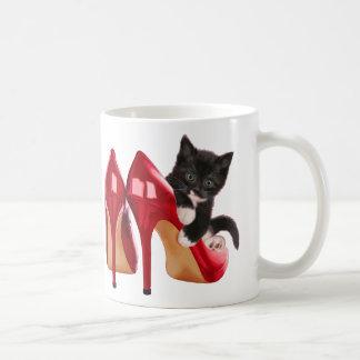 Black and White Kitten in Red Shoe Mug