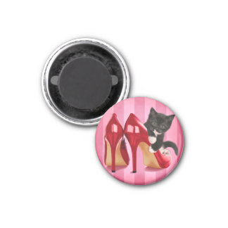 Black and White Kitten in Red Shoes Refrigerator Magnets