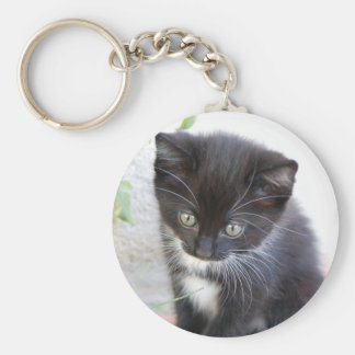 Black and White Kitten Key Ring