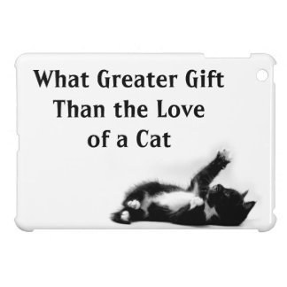 Black and white kitten on iPad case (other brands)