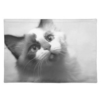 Black And White Kitten Portrait Placemat