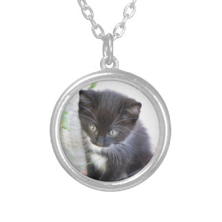 Black and White Kitten Silver Plated Necklace