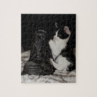 Black and white kitten with boot jigsaw puzzle