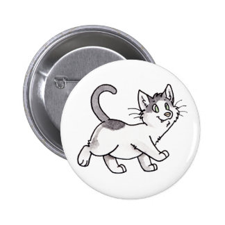 Black and White Kitty Button