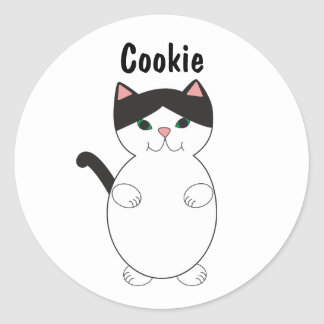 Black and White Kitty Cat Animal Personalize Classic Round Sticker