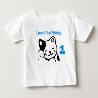 Black and White Kitty Cat Waving Hello Birthday Baby T-Shirt