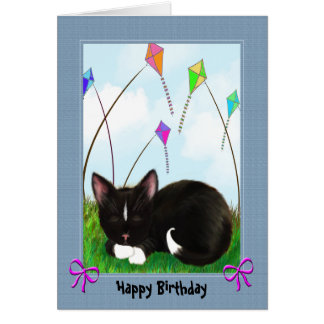 Black and White Kitty Happy Birthday Card