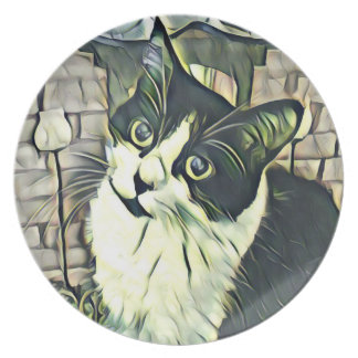 Black And White Kitty Melamine Plate