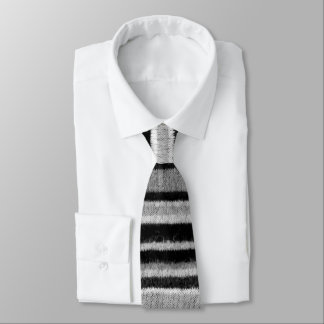 black and white knitted stripes vintage design tie