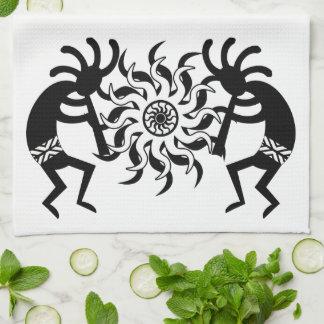 Black And White  Kokopelli Southwest Tribal Sun Hand Towel