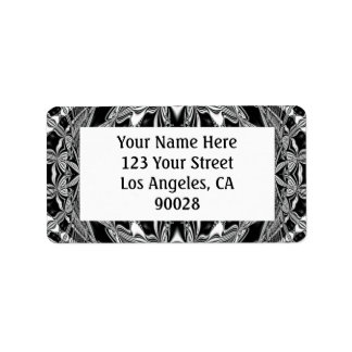 black and white address label