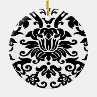 Black and White Lace Round Ceramic Decoration