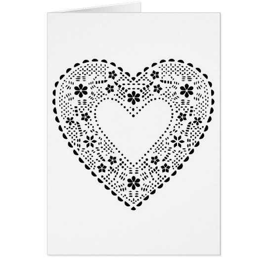 Black and White Lace Heart Card